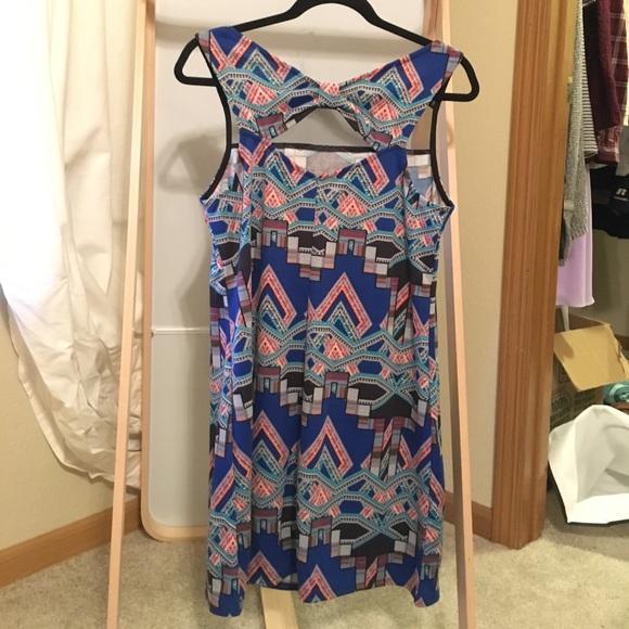 Xhilaration Dresses - Shift Dress with Mesh Panel in Blue Aztec