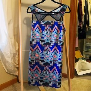 Xhilaration Dresses & Skirts - Shift Dress with Mesh Panel in Blue Aztec