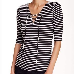NWT love, Fire black/white striped lace up top