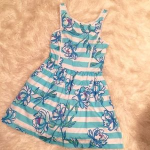 Lilly Pulitzer blue and white floral striped dress