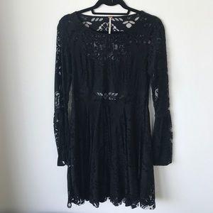 Free people black lace dress w open back detail