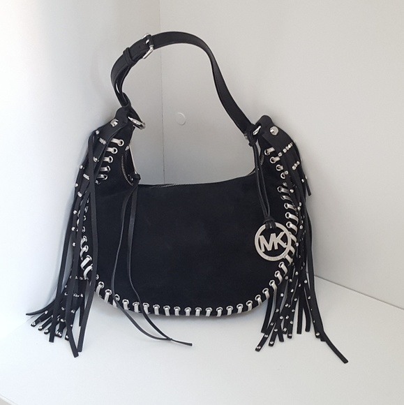 01e581f15862 Michael Kors Rhea suede fringe studded Black bag. M 59190731bcd4a7c189026e69