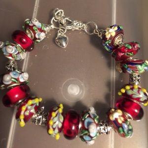 Jewelry - Murano glass beads silver bracelet.