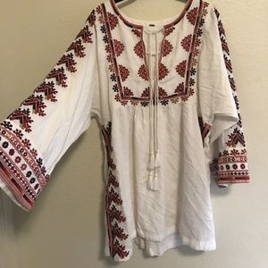 Free People bell sleeved embroidered dress NWOT
