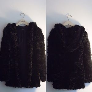 Zara Black Faux Fur Hooded Coat