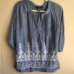 89TH & Madison Tops - 89TH & Madison Embroidered Chambray Blouse