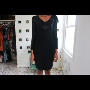 Black Tasseled Sweater Dress