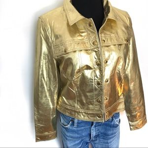 Vintage Gold Metallic Leather Jacket