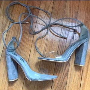 Yeezy Shoes - Gorgeous tie up heels with clear strap size 7