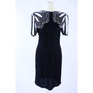 Laurence Kazar Vintage Black & White Beaded Dress