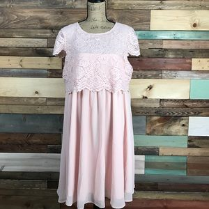 NWT Asos Maternity Pink Blush Lace Top Flowy Dress