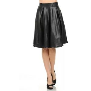 Dresses & Skirts - Black Faux Leather Pleated Circle High Waist Skirt