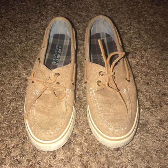 Sperry Shoes - Tan Women's Sperry Top Sider Canvas Sneakers