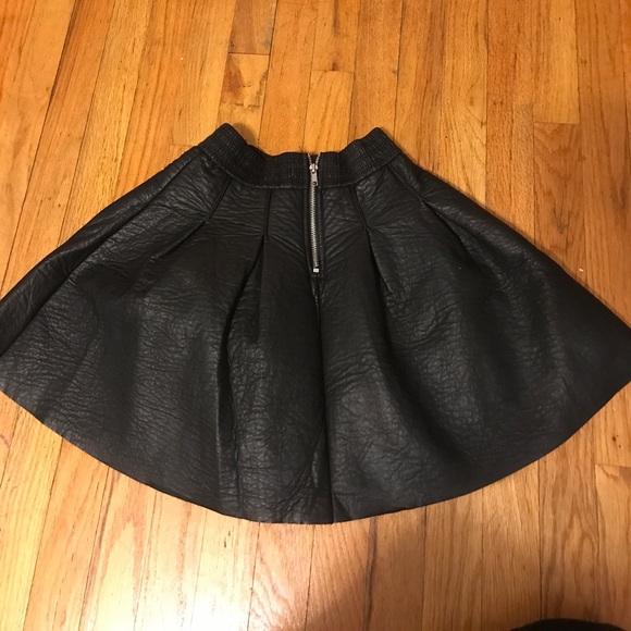 h m black leather high waisted skater skirt from kris s
