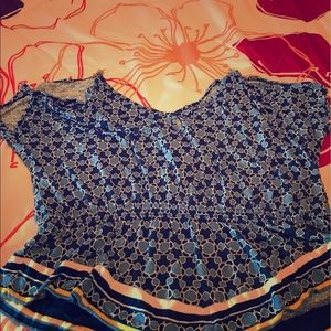 AKA New York Tops - Blue shirt with open shoulder it has a gold chain