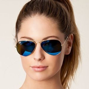 Ray-Ban Accessories - New Rayban 3025 Aviator Blue and gold frame mirror