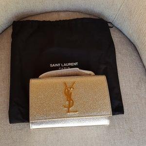 Saint Laurent Bags - Saint Laurent Silver Metallic Crossbody Bag