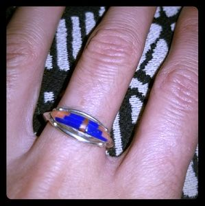 Vintage Sterling Blue Lapis & Coral Inlay Ring