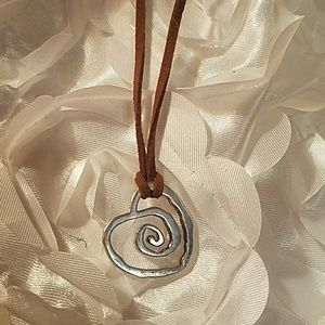 """Jewelry - """"TRUST YOUR JOURNEY""""Dancing HEART&LEATHER NECKLACE"""