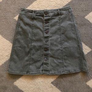 Denim, army green skirt