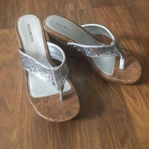 ❤ Silver Wedge Sandals!2-3 inch heel.