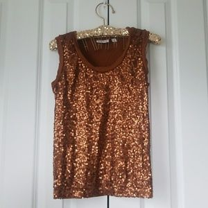 New York & Company Tops - New York & Company Stretch brown sequins Tank Top