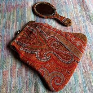 Vintage tapestry purse bag & matching hand mirror