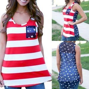 Tops - American Flag Stripes & Stars Tank