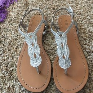 Unisa Shoes - Silver lil wedge sparkly sandals