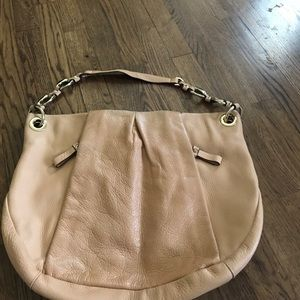 Peach leather Vince Camuto tote