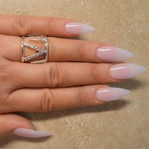 Jewelry - Rose Gold or Silver Midi Knuckle Chevron Pave Ring