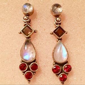 Vintage Jewelry - Nicky Butler Moonstone Garnet Amethyst Earrings