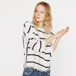 Zara blue white stripe frayed boxy top