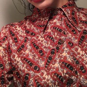 1970's vintage women's paisley blouse