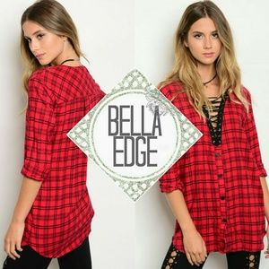 Bella Edge Tops - 🆕️ NATALIE Red plaid lace up boyfriend tunic top