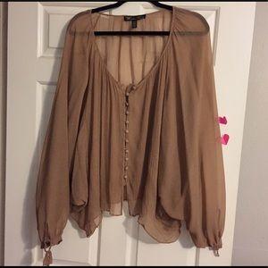 Winter Kate Tops - 100% silk Winter Kate tan blouse
