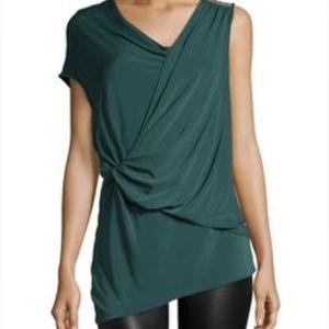 Halston Heritage Tops - Draped asymmetrical sleeveless top
