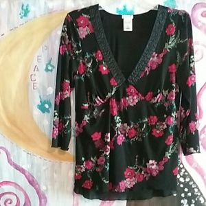 XL Old Navy Perfect Fit Floral 3/4 Sleeve Blouse