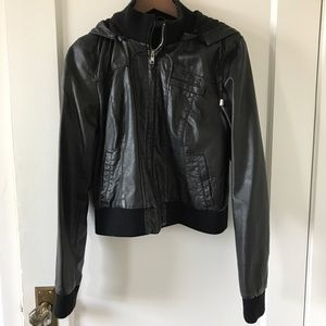 Sparkle & Fade Faux-Leather Hooded Bomber