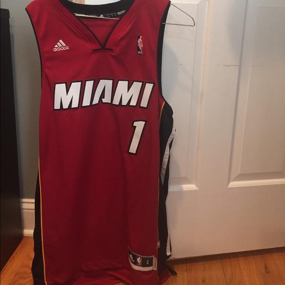 purchase cheap 86b7b c3a9c Adidas red Miami heat replica Chris bosh jersey