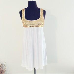 Forever 21 Tops - ❗️Forever 21 Gold Sequin Tunic/ Dress