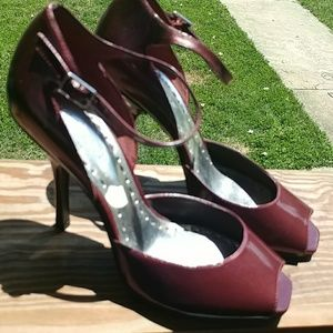 BCBGirls Shoes - NWOT..Shiny burgandy metallic BCBGirls