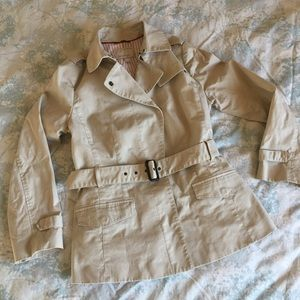 Banana Republic Heritage almond short trench coat
