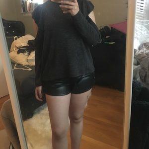 Zara flutter sleeves open arm grey sweater sz S
