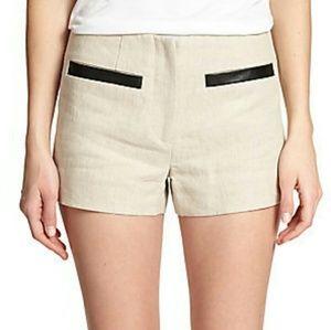 L'AGENCE Pants - L'AGENCE Beige Linen Shorts