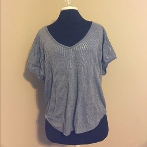 Gray tee Shirt with Clear Sequin Stripes