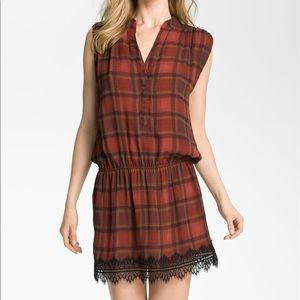 Haute Hippie Dresses & Skirts - Haute Hippie- Plaid Drop Waist Lace Hem Dress