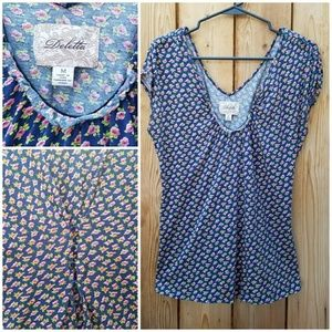 Anthropologie Tops - Anthropologie Deletta Floral Button Back Top