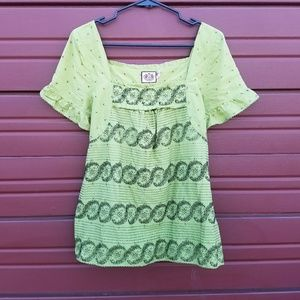 Juicy Couture Green and Black Patterned Top