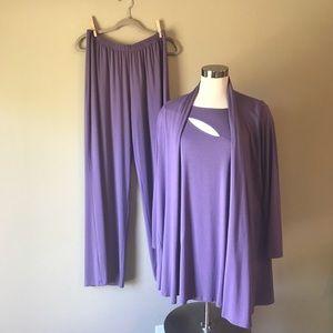 Comfy USA Modal 3 Piece Lounge Wear Cardigan Tunic